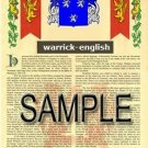 WARRICK - ENGLISH - Armorial Name History - Coat of Arms - Family Crest GIFT! 8.5x11