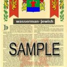 WASSERMAN - JEWISH - Armorial Name History - Coat of Arms - Family Crest GIFT! 8.5x11