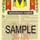WATERHOUSE - ENGLISH - Armorial Name History - Coat of Arms - Family Crest GIFT! 8.5x11