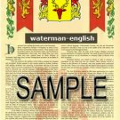 WATERMAN - ENGLISH - Armorial Name History - Coat of Arms - Family Crest GIFT! 8.5x11