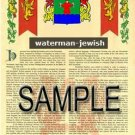 WATERMAN - JEWISH - Armorial Name History - Coat of Arms - Family Crest GIFT! 8.5x11