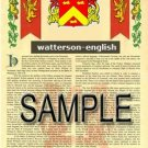 WATTERSON - ENGLISH - Armorial Name History - Coat of Arms - Family Crest GIFT! 8.5x11
