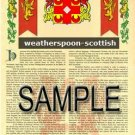 WEATHERSPOON - SCOTTISH - Armorial Name History - Coat of Arms - Family Crest GIFT! 8.5x11