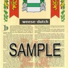 WEESE - DUTCH - Armorial Name History - Coat of Arms - Family Crest GIFT! 8.5x11