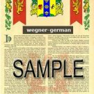 WEGNER - GERMAN - Armorial Name History - Coat of Arms - Family Crest GIFT! 8.5x11