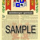 WEINBERGER - GERMAN - Armorial Name History - Coat of Arms - Family Crest GIFT! 8.5x11