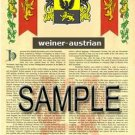 WEINER - AUSTRIAN - Armorial Name History - Coat of Arms - Family Crest GIFT! 8.5x11