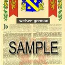WEISER - GERMAN - Armorial Name History - Coat of Arms - Family Crest GIFT! 8.5x11
