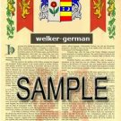 WELKER - GERMAN - Armorial Name History - Coat of Arms - Family Crest GIFT! 8.5x11