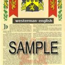 WESTERMAN - ENGLISH - Armorial Name History - Coat of Arms - Family Crest GIFT! 8.5x11