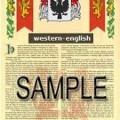 WESTERN - ENGLISH - Armorial Name History - Coat of Arms - Family Crest GIFT! 8.5x11
