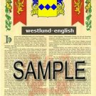 WESTLUND - ENGLISH - Armorial Name History - Coat of Arms - Family Crest GIFT! 8.5x11