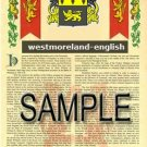 WESTMORELAND - ENGLISH - Armorial Name History - Coat of Arms - Family Crest GIFT! 8.5x11