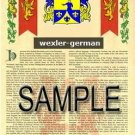 WEXLER - GERMAN - Armorial Name History - Coat of Arms - Family Crest GIFT! 8.5x11