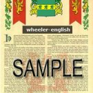 WHEELER - ENGLISH - Armorial Name History - Coat of Arms - Family Crest GIFT! 8.5x11
