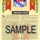 WHELAN - IRISH - Armorial Name History - Coat of Arms - Family Crest GIFT! 8.5x11