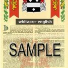 WHITACRE - ENGLISH - Armorial Name History - Coat of Arms - Family Crest GIFT! 8.5x11