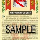 WHITEFIELD - ENGLISH - Armorial Name History - Coat of Arms - Family Crest GIFT! 8.5x11