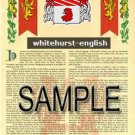 WHITEHURST - ENGLISH - Armorial Name History - Coat of Arms - Family Crest GIFT! 8.5x11