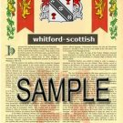 WHITFORD - SCOTTISH - Armorial Name History - Coat of Arms - Family Crest GIFT! 8.5x11