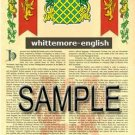 WHITTEMORE - ENGLISH - Armorial Name History - Coat of Arms - Family Crest GIFT! 8.5x11