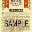 WICK - ENGLISH - Armorial Name History - Coat of Arms - Family Crest GIFT! 8.5x11