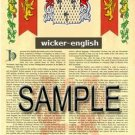 WICKER - ENGLISH - Armorial Name History - Coat of Arms - Family Crest GIFT! 8.5x11