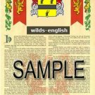WILDS - ENGLISH - Armorial Name History - Coat of Arms - Family Crest GIFT! 8.5x11