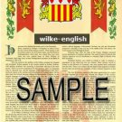 WILKE - ENGLISH - Armorial Name History - Coat of Arms - Family Crest GIFT! 8.5x11