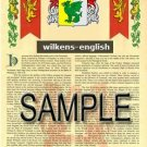 WILKENS - ENGLISH - Armorial Name History - Coat of Arms - Family Crest GIFT! 8.5x11