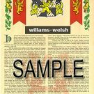 WILLAMS - WELSH - Armorial Name History - Coat of Arms - Family Crest GIFT! 8.5x11