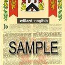 WILLARD - ENGLISH - Armorial Name History - Coat of Arms - Family Crest GIFT! 8.5x11