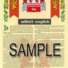 WILLETT - ENGLISH - Armorial Name History - Coat of Arms - Family Crest GIFT! 8.5x11