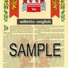 WILLETTE - ENGLISH - Armorial Name History - Coat of Arms - Family Crest GIFT! 8.5x11