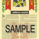 WILLIAM - WELSH - Armorial Name History - Coat of Arms - Family Crest GIFT! 8.5x11