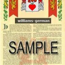WILLIAMS - GERMAN - Armorial Name History - Coat of Arms - Family Crest GIFT! 8.5x11