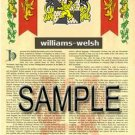 WILLIAMS - WELSH - Armorial Name History - Coat of Arms - Family Crest GIFT! 8.5x11
