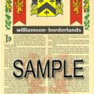 WILLIAMSON - BORDERLANDS - Armorial Name History - Coat of Arms - Family Crest GIFT! 8.5x11