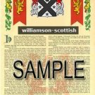 WILLIAMSON - SCOTTISH - Armorial Name History - Coat of Arms - Family Crest GIFT! 8.5x11