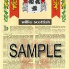 WILLIE - SCOTTISH - Armorial Name History - Coat of Arms - Family Crest GIFT! 8.5x11