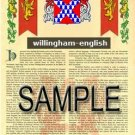WILLINGHAM - ENGLISH - Armorial Name History - Coat of Arms - Family Crest GIFT! 8.5x11