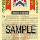 WILLIS - ENGLISH - Armorial Name History - Coat of Arms - Family Crest GIFT! 8.5x11
