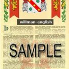 WILLMAN - ENGLISH - Armorial Name History - Coat of Arms - Family Crest GIFT! 8.5x11