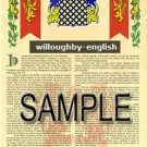 WILLOUGHBY - ENGLISH - Armorial Name History - Coat of Arms - Family Crest GIFT! 8.5x11