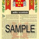 WILLS - SCOTTISH - Armorial Name History - Coat of Arms - Family Crest GIFT! 8.5x11