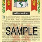 WILLSON - IRISH - Armorial Name History - Coat of Arms - Family Crest GIFT! 8.5x11