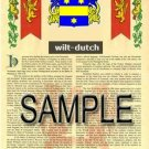 WILT - DUTCH - Armorial Name History - Coat of Arms - Family Crest GIFT! 8.5x11