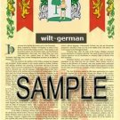 WILT - GERMAN - Armorial Name History - Coat of Arms - Family Crest GIFT! 8.5x11