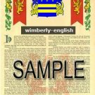 WIMBERLY - ENGLISH - Armorial Name History - Coat of Arms - Family Crest GIFT! 8.5x11
