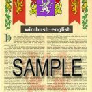 WIMBUSH - ENGLISH - Armorial Name History - Coat of Arms - Family Crest GIFT! 8.5x11